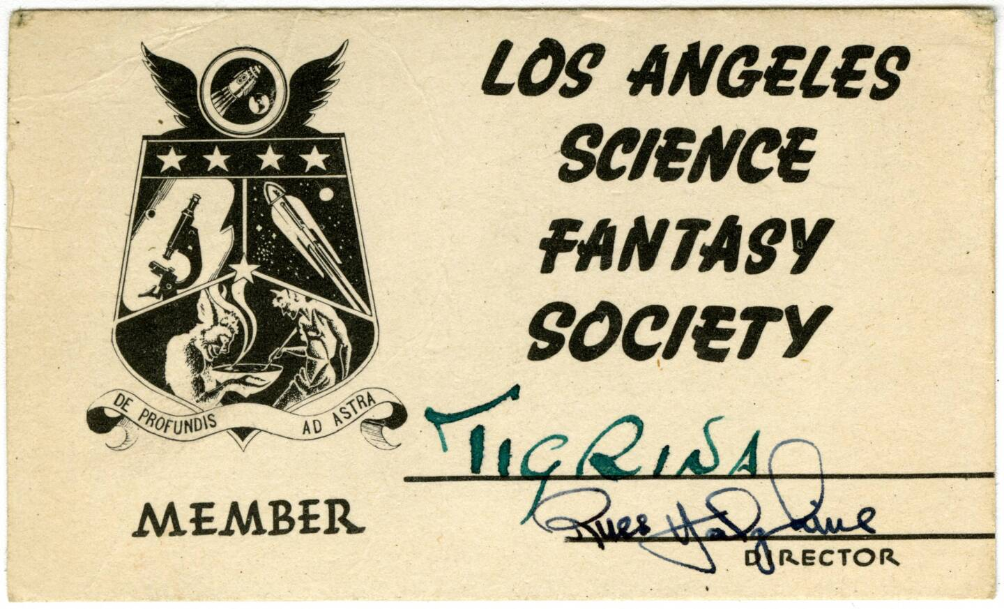 A membership card for the Los Angeles Science Fantasy Society. The member used a code name, Tigrina.