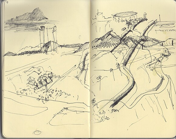 The view from Bunker Hill. | Drawing: Nichole Speciale.