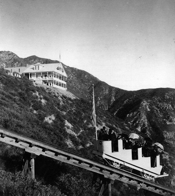 Visitors travel on the funicular or Great Incline portion of the Mount Lowe Railway | Courtesy of the Los Angeles Public Library