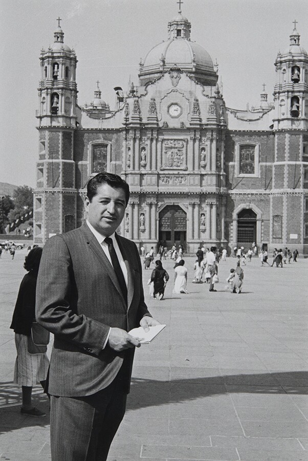 Rubén Salazar in Zocalo, the Plaza de la Constitucion (Constitution Square) in Mexico City, 1966-1968 | Rubén Salazar (1928-1970) Papers, USC Libraries Special Collections