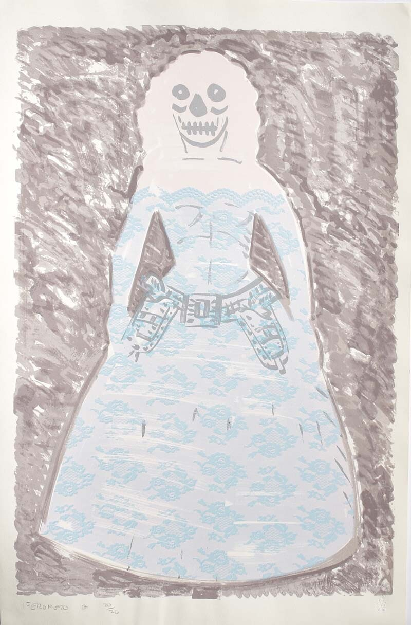 """La Pistolera"" by Frank Romero (undated Commemorative Dia de Los Muertos Print) 
