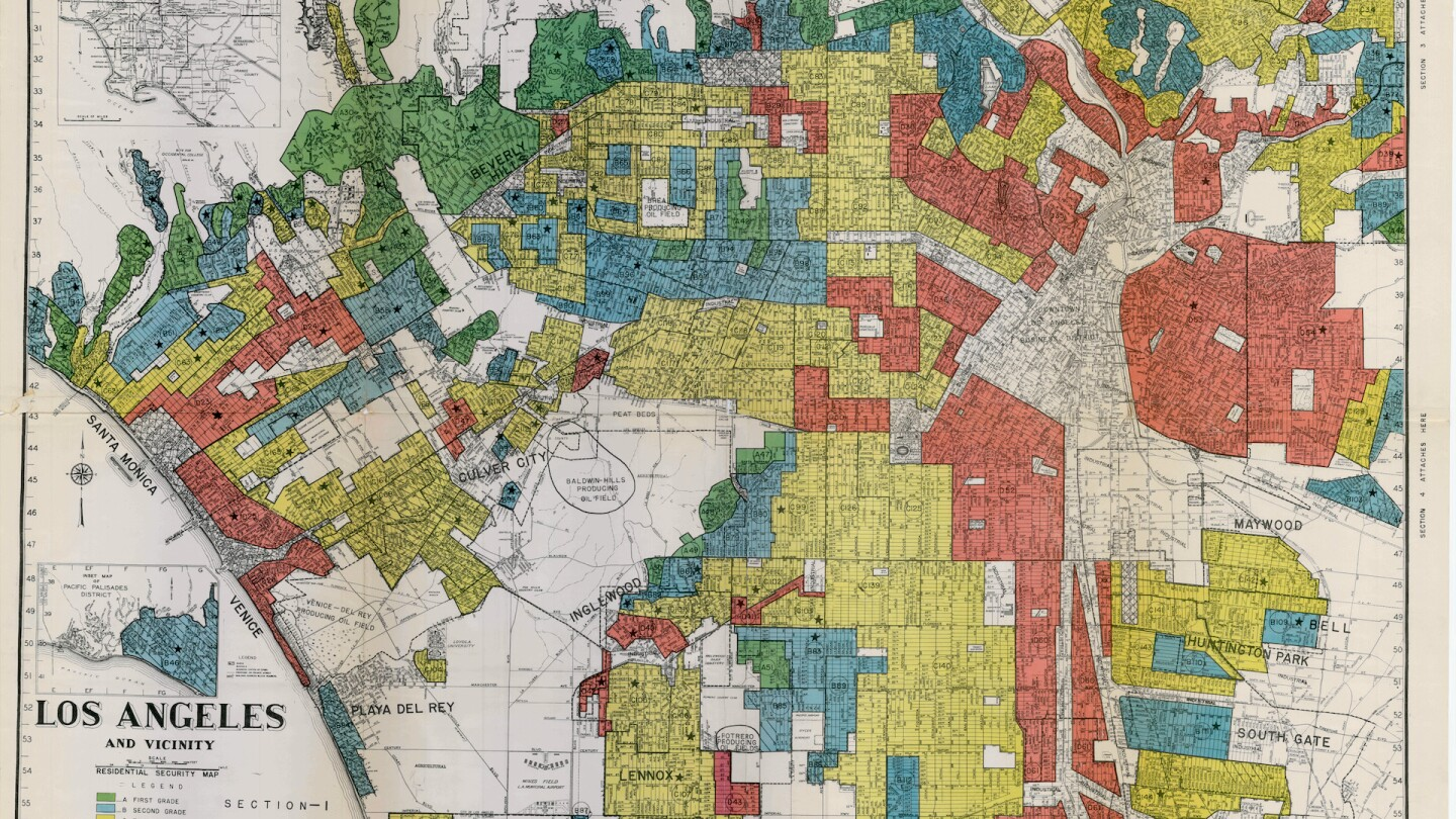 "1939 HOLC ""redlining"" map of central Los Angeles"
