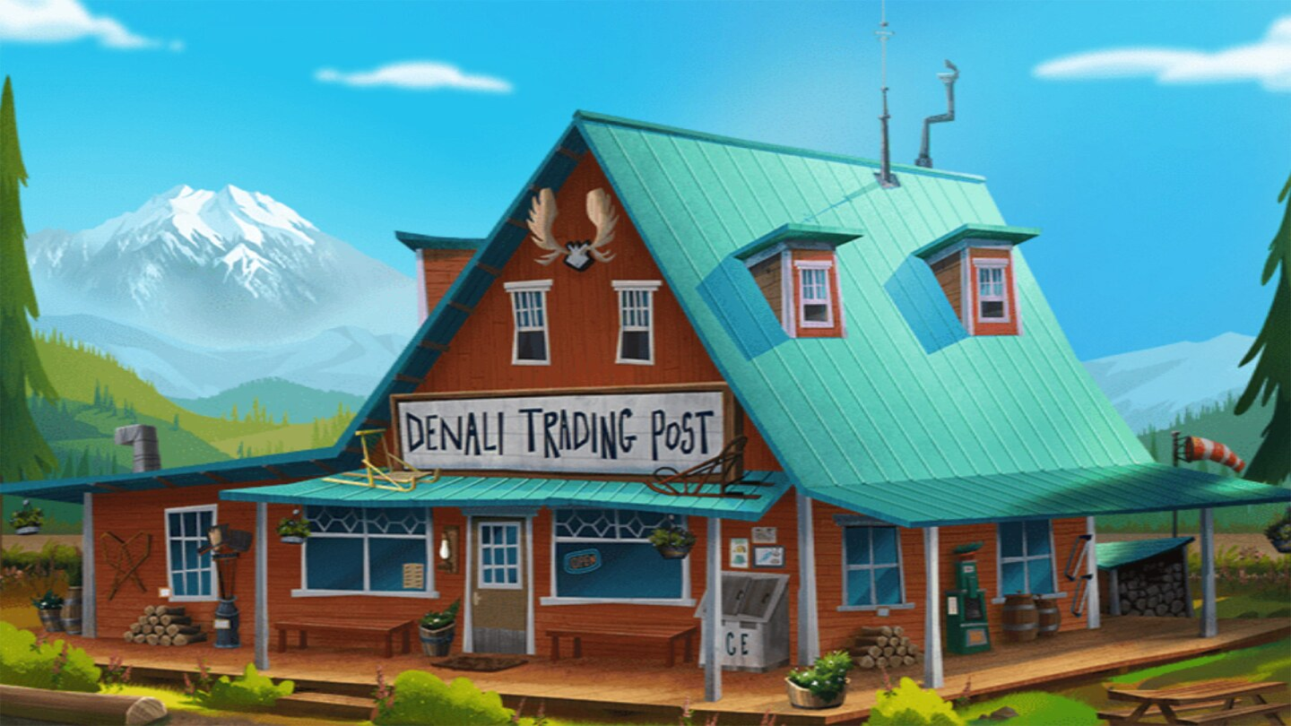 """Brown cartoon building with a green pointed roof with a sign that reads """"Denali Trading Post"""""""
