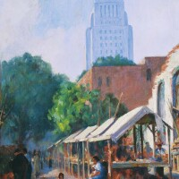 "Vera C. M. Staples, ""Olvera Street, El Pueblo de Los Angeles (with Los Angeles City Hall in the background),"" c. 1935, oil on canvas"