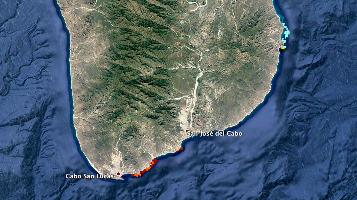 Reefs near Cabo San Lucas, Baja California Sur, Mexico | Map: KCET/Google Earth/WRI
