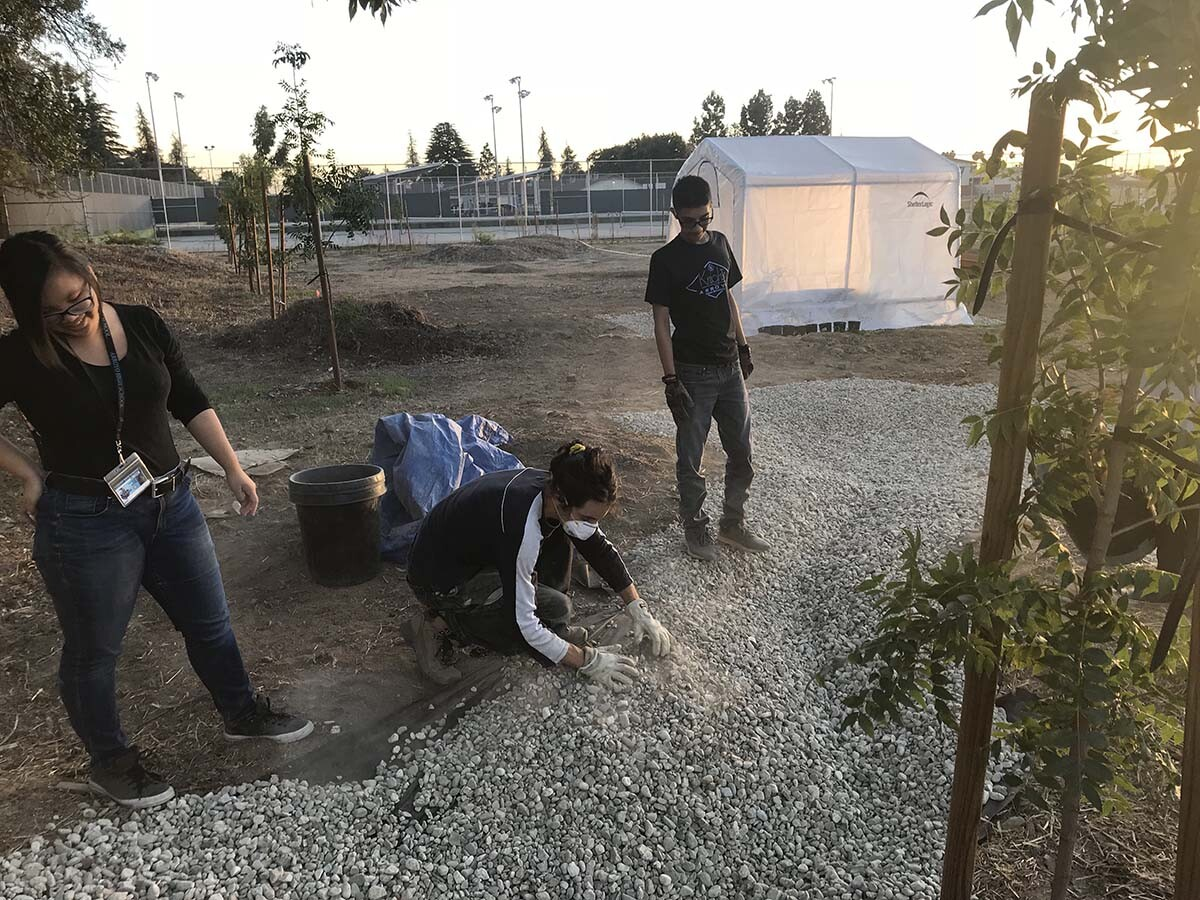 ECoUrban Gardens teacher Alessandro Bersanetti building swale with AHS students | Marianne Zaugg
