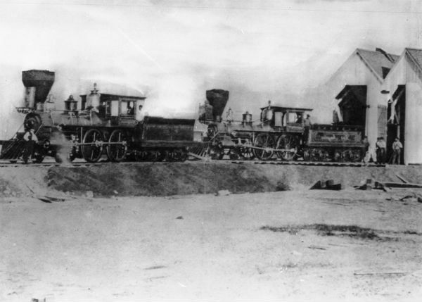 1872 photo of the two larger steam locomotives that replaced the San Gabriel on the Los Angeles & San Pedro Railroad. Courtesy of the Title Insurance and Trust / C.C. Pierce Photography Collection, USC Libraries.