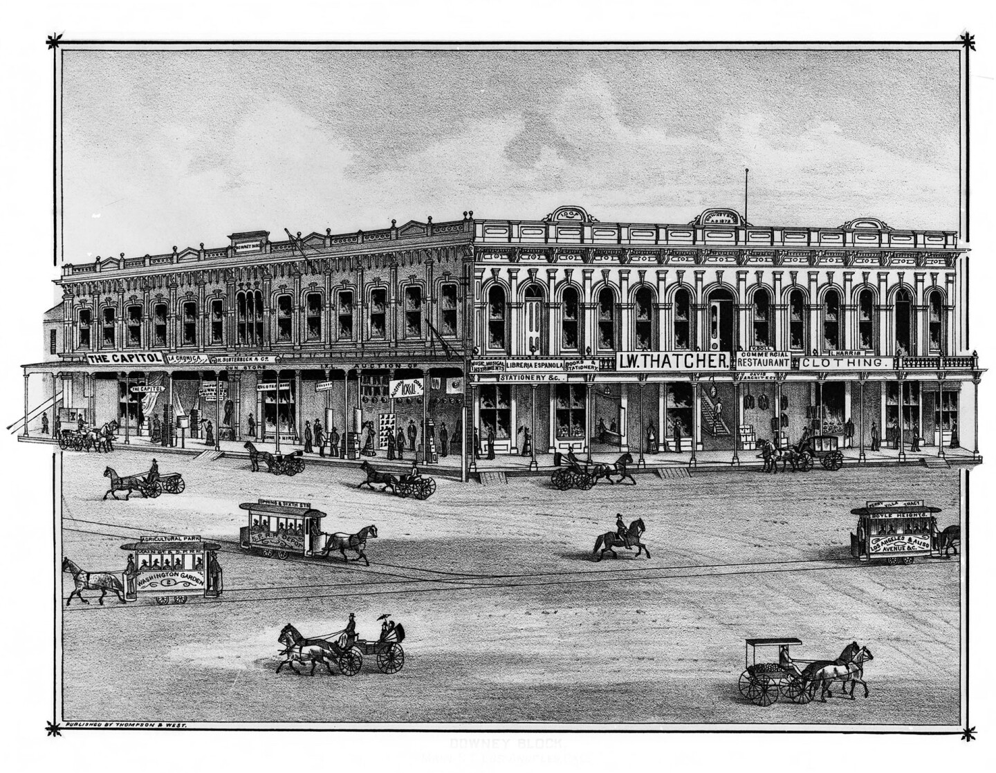 Horses and horse-drawn vehicles race past the Downey Block in this 1880 lithograph from Thompson and West's history of Los Angeles County. Courtesy of the USC Libraries - California Historical Society Collection.