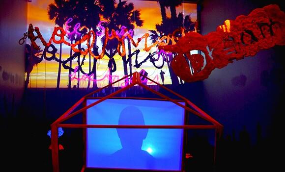 "Yujun Ye, ""El Sueño de Los Angeles,"" 2014. Mixed media installation, video, foam, wood. | Photo by Yujun Ye"