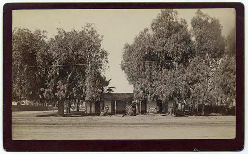 Hancock's Headquarters. Captain Winfield Scott Hancock was the sole representative of the United States military in Los Angeles. He expected this adobe warehouse to be raided by Angeleño secessionists. Photograph courtesy of California State Library