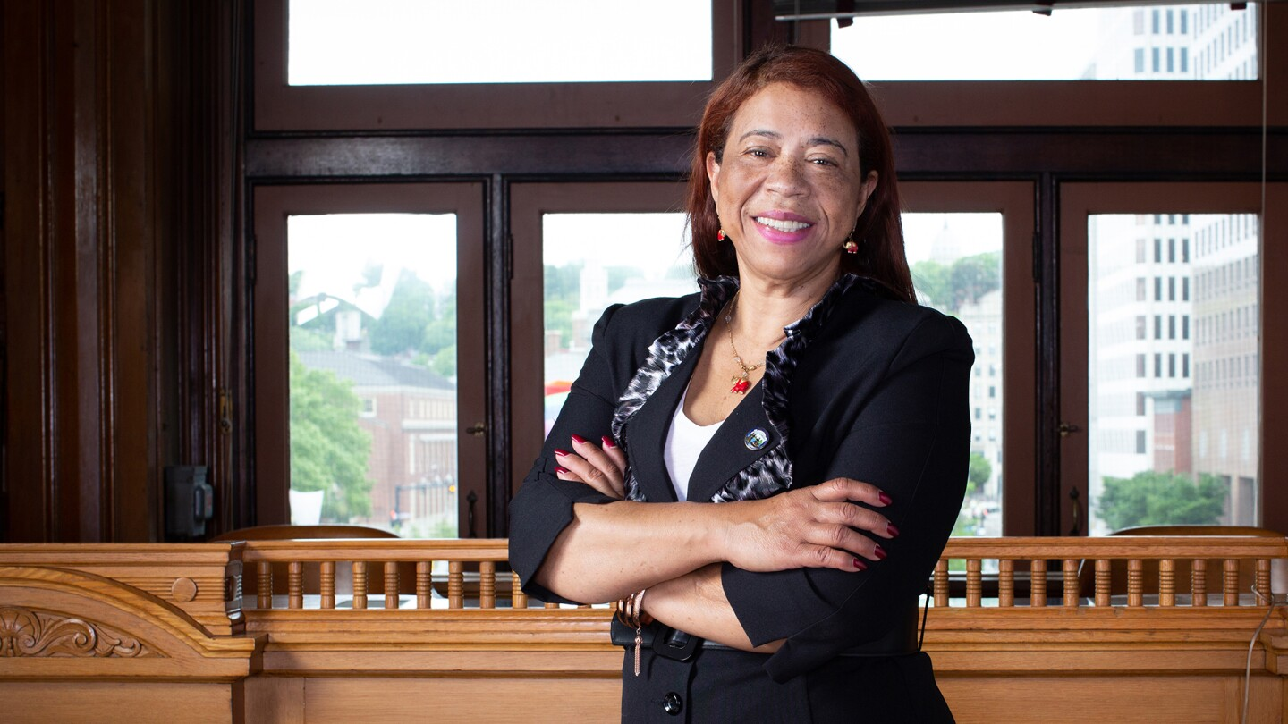 "Councilwoman Carmen Castillo poses with her arms crossed. | From ""America ReFramed: Councilwoman"""