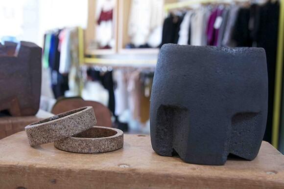 Bracelets by Julie Hung, ceramic piece by Jonathan Cross.