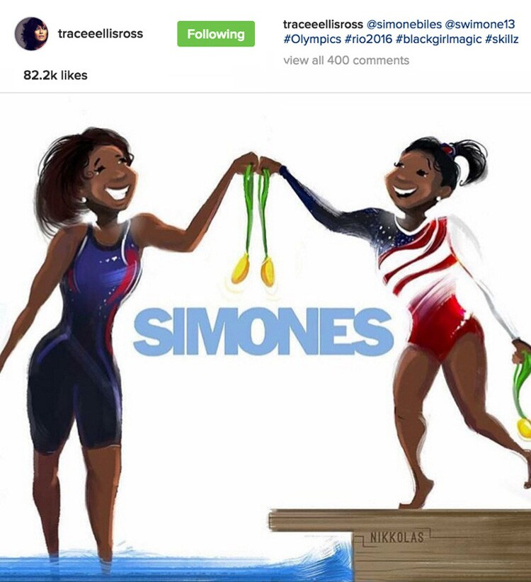 Olympians Simone Manuel and Simone Biles celebrate their gold medals in this Nikkolas Smith illustration.