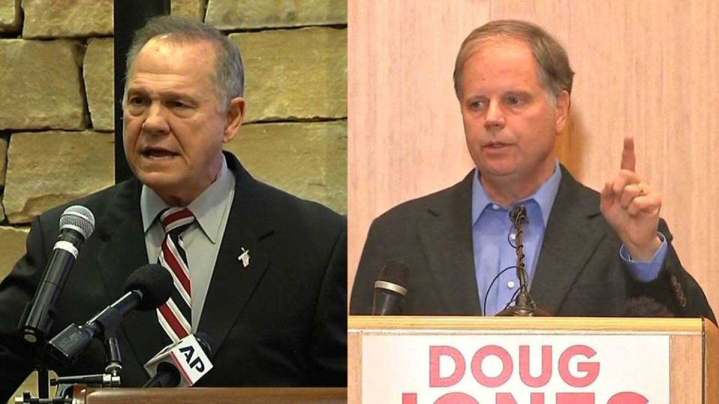 Side-by-side images of Roy Moore (left) and Doug Jones (right) speaking at podiums. | Democracy Now