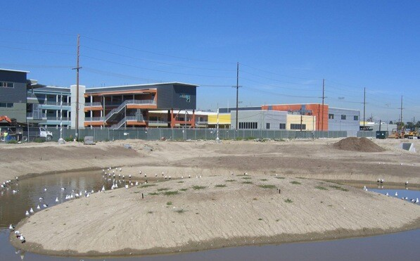 Phase 1, before the greening, of the Wetlands | Photo by Maria Lopez