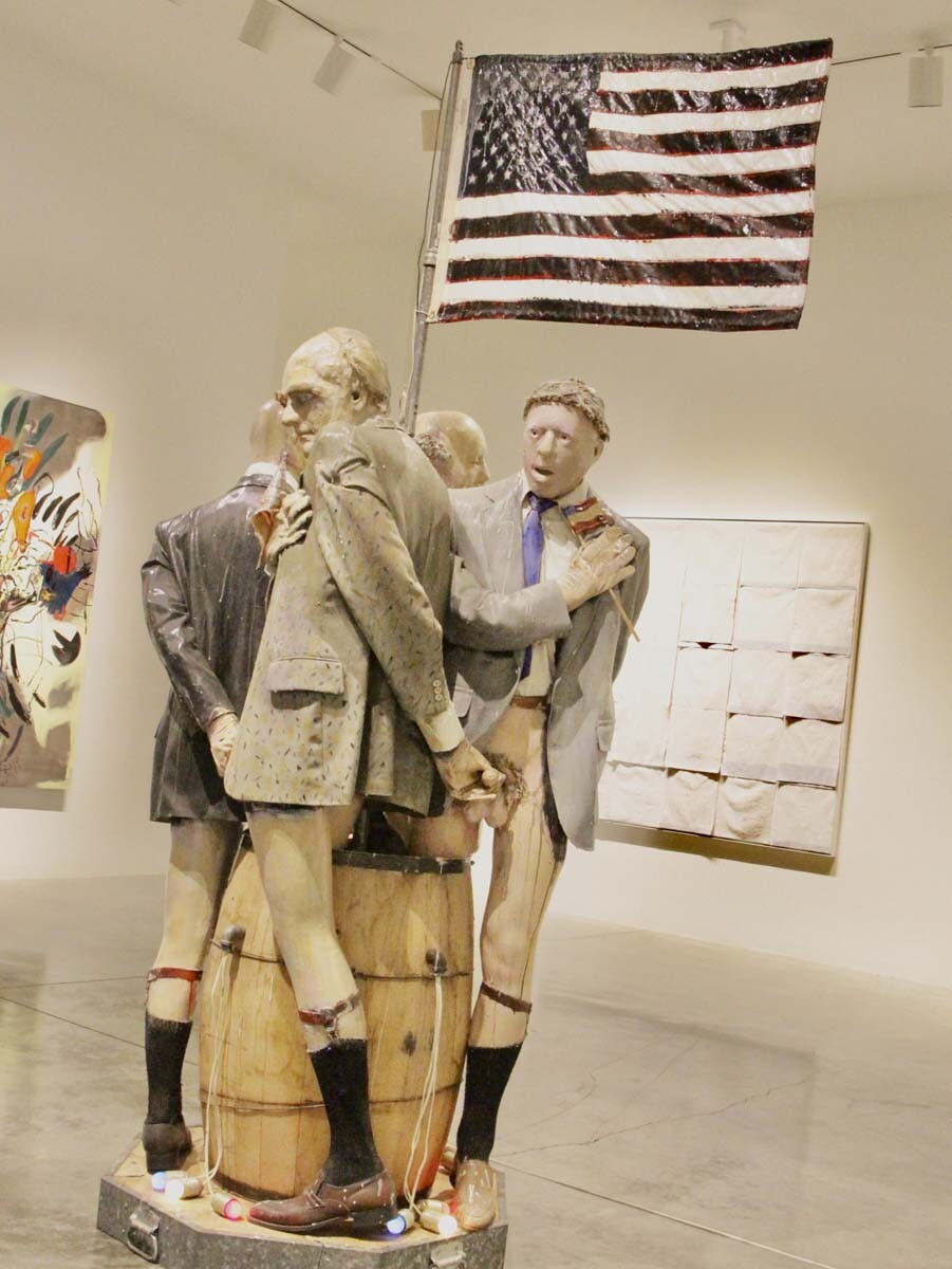 "Edward & Nancy Reddin Kienholz's 1991 ""My Country 'Tis Of Thee"" of mixed media assemblage (101 x 56 1/2 x 37 in.) 