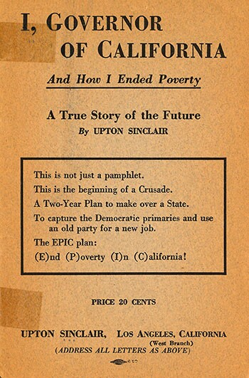 """Cover of Upton Sinclair's """"I, Governor"""" pamphlet"""