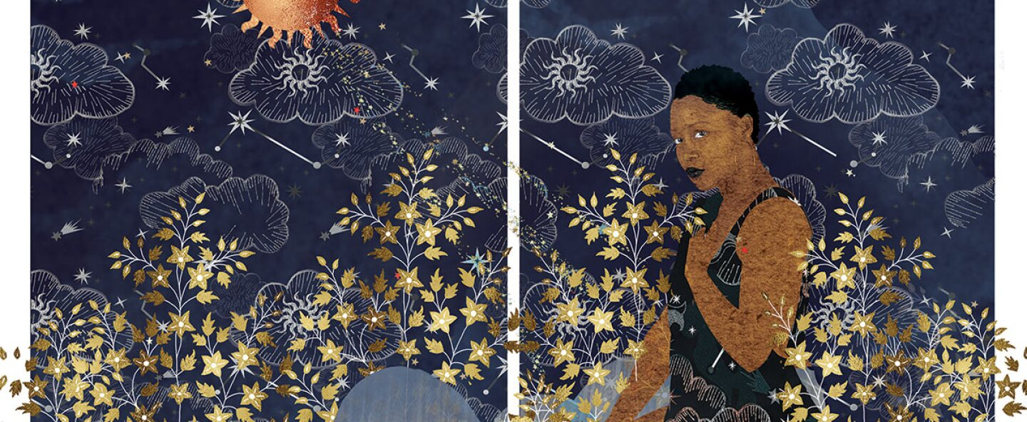 "Carla Jay Harris ""Sphinx,"" 2019. Archival pigment print. Two panels, 40 x 30 in. each. The work features a beautiful Black woman wearing a dark blue dress kneeling down in a golden meadow under a starry sky and bright orange sun. 