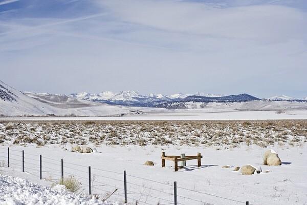 Snow north of Bishop along Highway 395 in 2010.