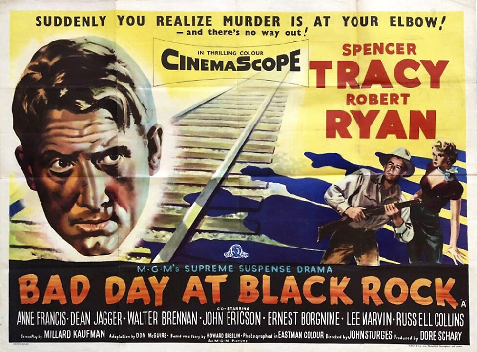 """""""Bad Day at Black Rock"""" (1955) stars Spencer Tracy and Robert Ryan, along with upcoming A-list actors including Lee Marvin and Ernest Borgnine. Filmed between Owenyo and Lone Pine, California, on the northern edge of the Mojave Desert. MGM Entertainment."""