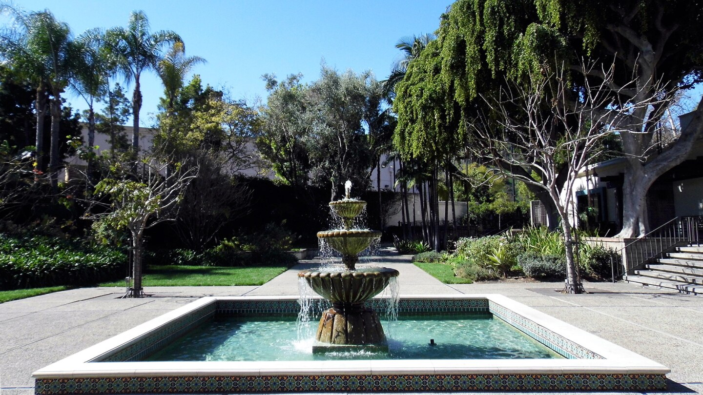 A three-tiered fountain in the Main Courtyard at the Los Angeles River Center & Gardens. | Sandi Hemmerlein