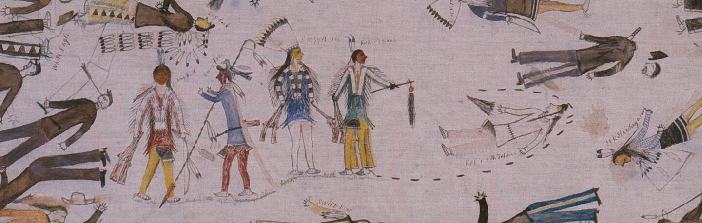 Detail, Little Big Horn, painting by Kicking Bear | Photo: The Autry Museum