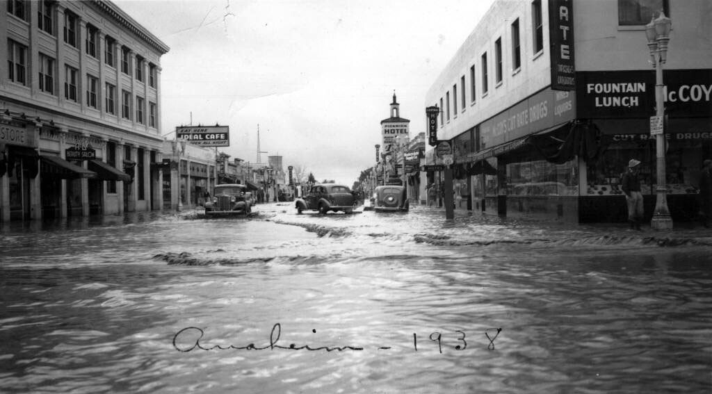 Downtown Anaheim during the flood of 1938