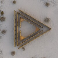 A triangular maze made out of Mexican petate created by Eduardo Sarabia is part of the Desert X 2021 exhibition.