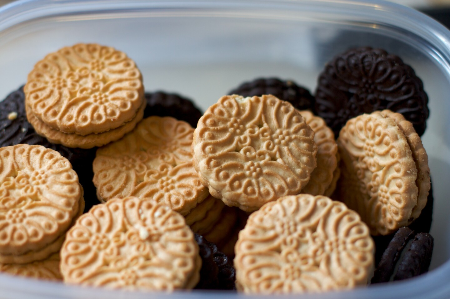 Vanilla and chocolate sandwich cookies with a swirly top sit in a small plastic container.