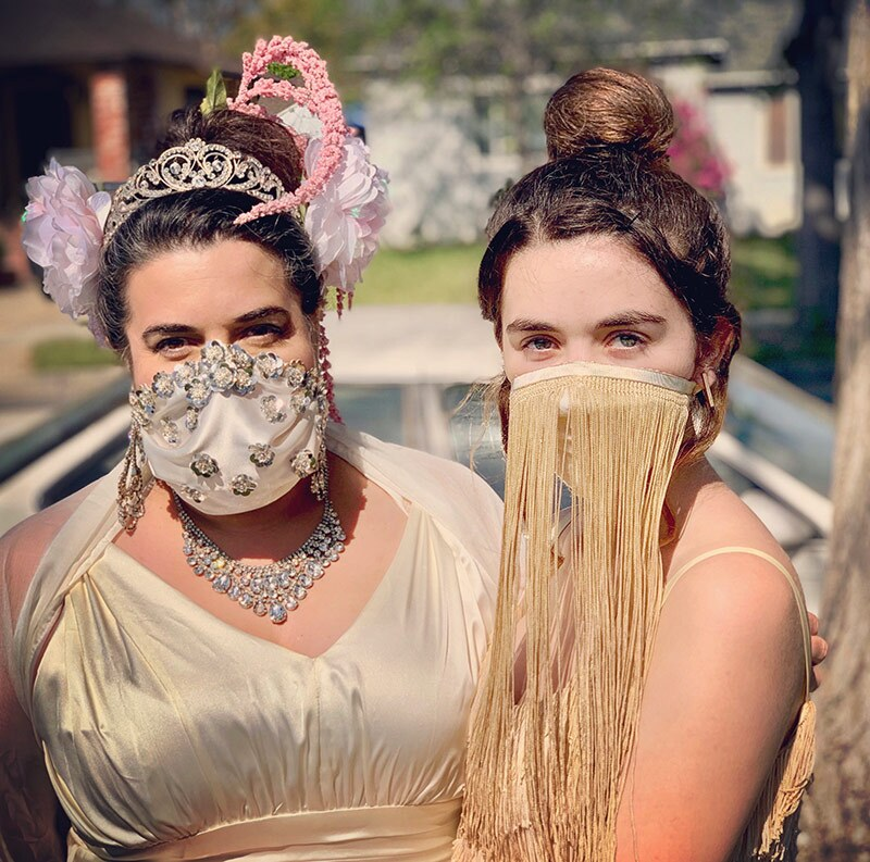 Two women wear face masks made for a home version of The Met Gala. | Image submitted by Añalisa Siemsen-McQuaide to the Autry.