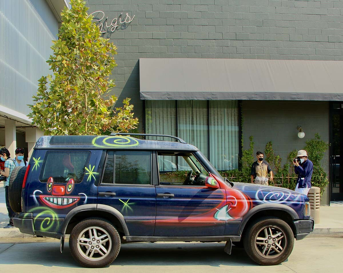"A jeep participating at Kenny Scharf's ""Karbombz!"" car parade September 26, 2020 