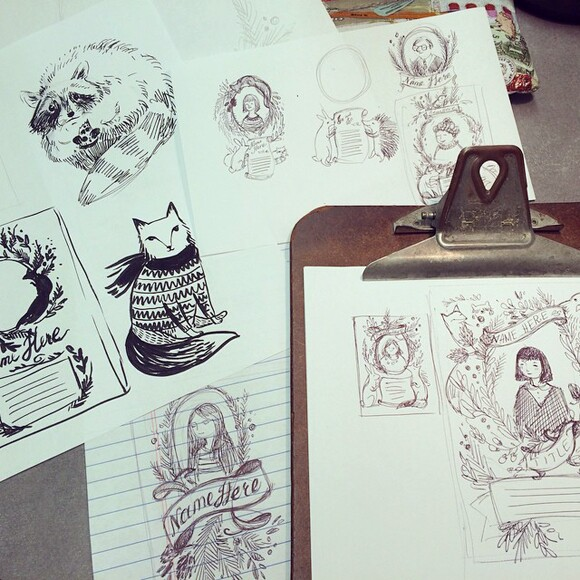 Sketches and doodles for cards, by Yevgeniya Mikhailik.