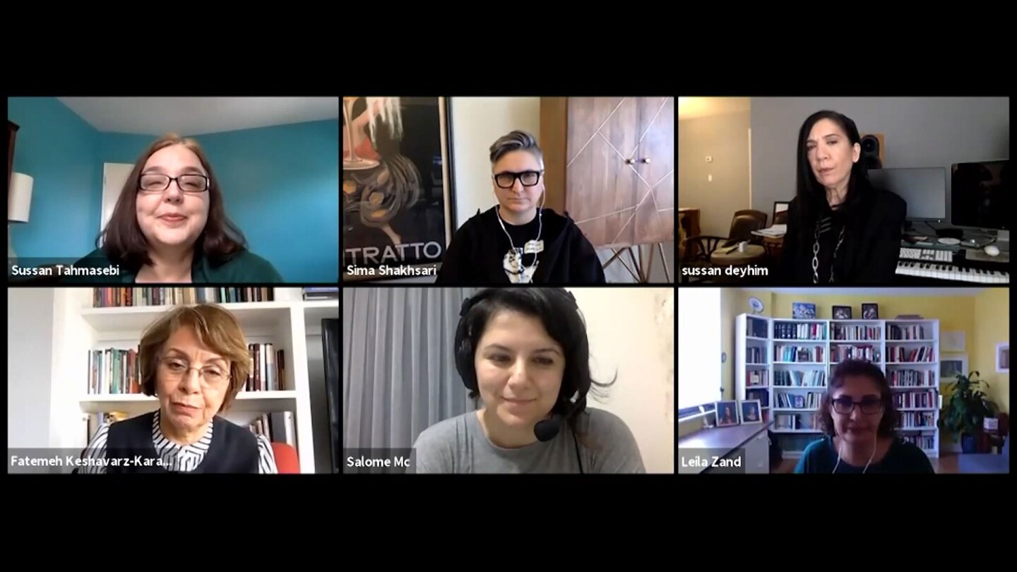 "A Zoom meeting including six Iranian-Americans discussing the impact of economic sanctions on Iran's response to the coronavirus on ""Mosaic: Covid-19 and U.S. Sanctions on Iran."""
