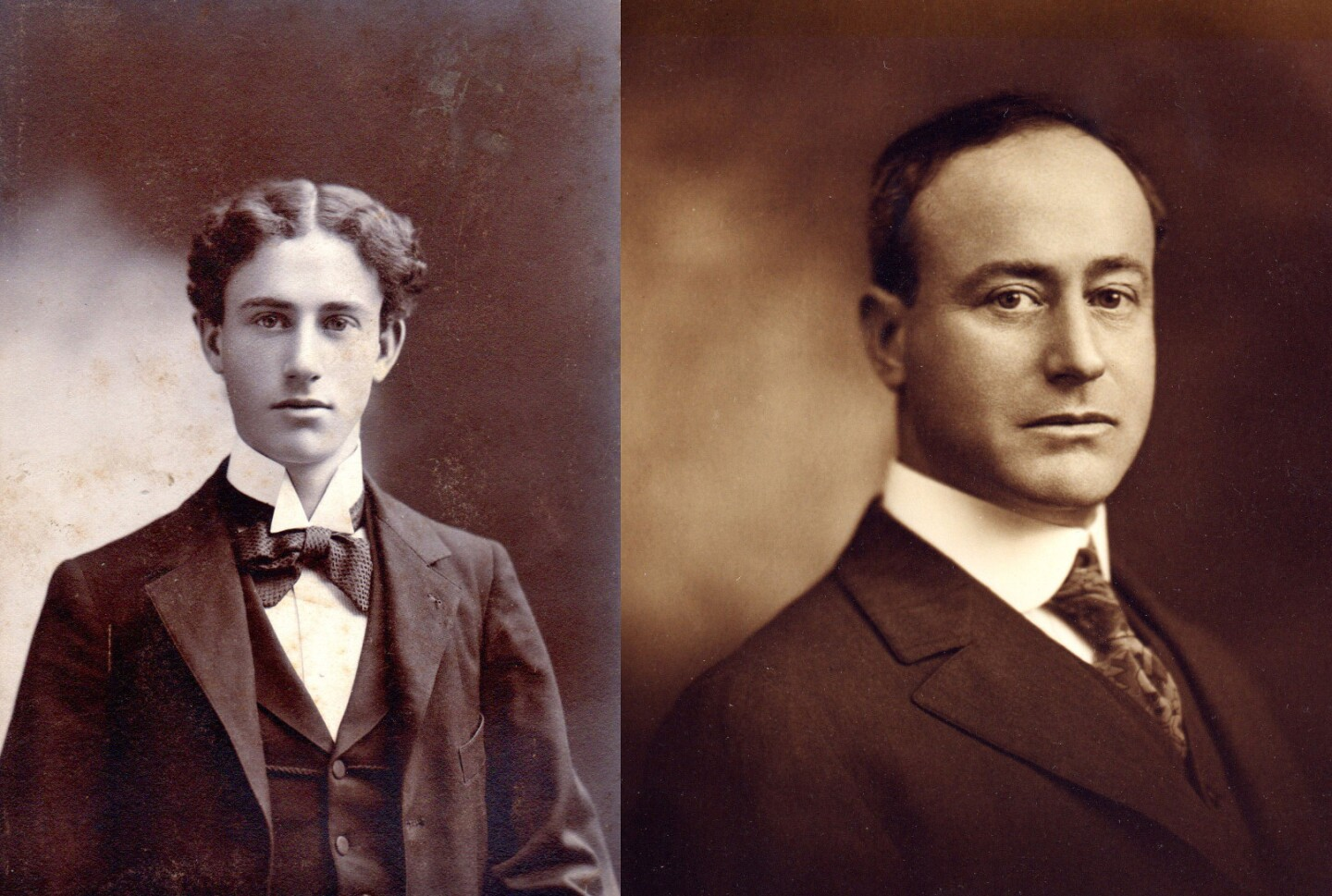 Pasadena developer Arthur S. Heineman, pictured on the left as a young man and on the right in middle age, is credited with coining the word motel.