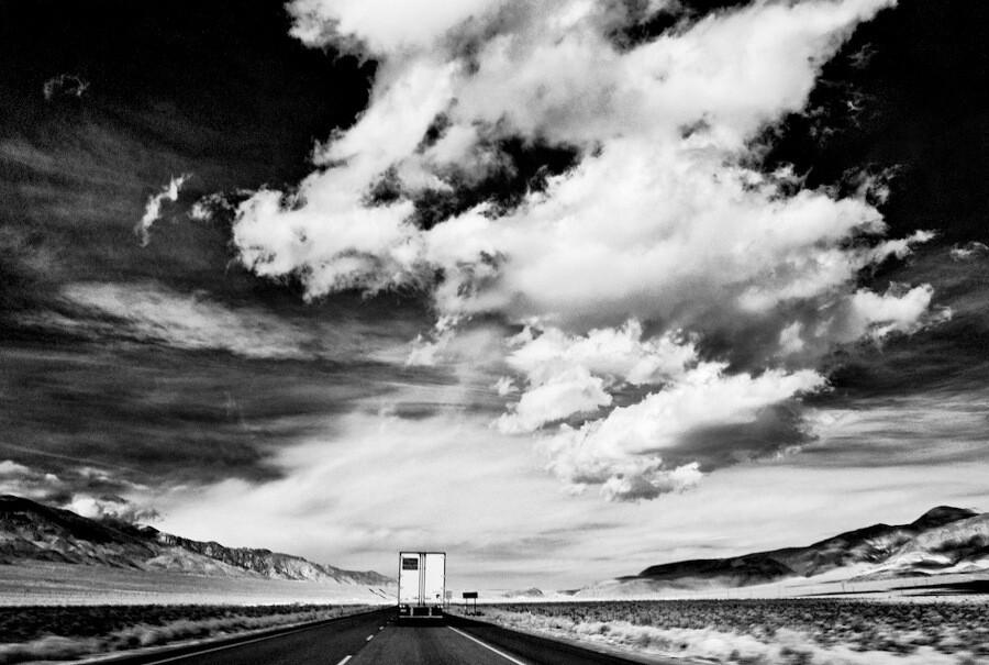 """Sky, Desert, Truck,"" infrared exposure. Highway 395 Near Coso Junction, CA. 2012. | Photo: Osceola Refetoff."