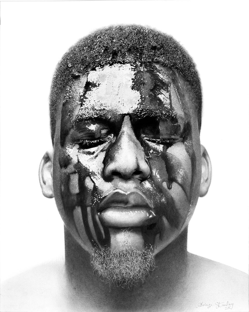 """The Machine Man #7"" by Arinze Stanley. Charcoal and graphite on paper, 20'' x 16.'' 