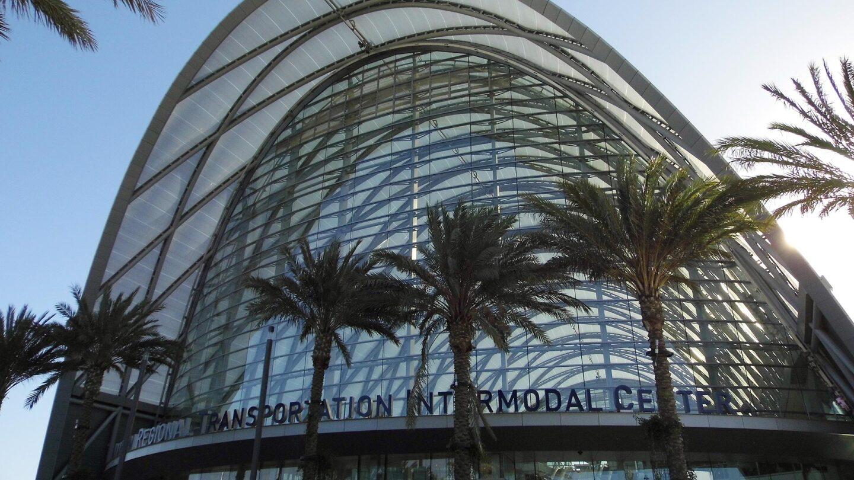 Exterior shot of the Anaheim Regional Transportation Intermodal Center.
