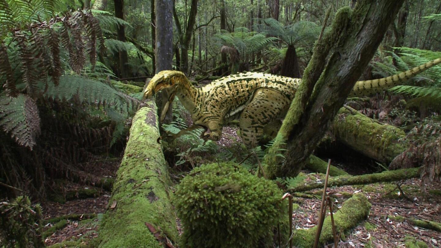 """A render of a yellow prehistoric dinosaur in the jungle. 