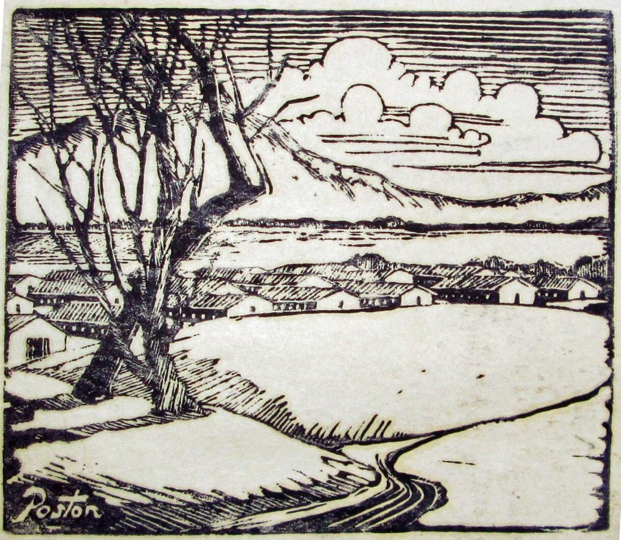 Block print of Poston Village   Courtesy of Bill Bell