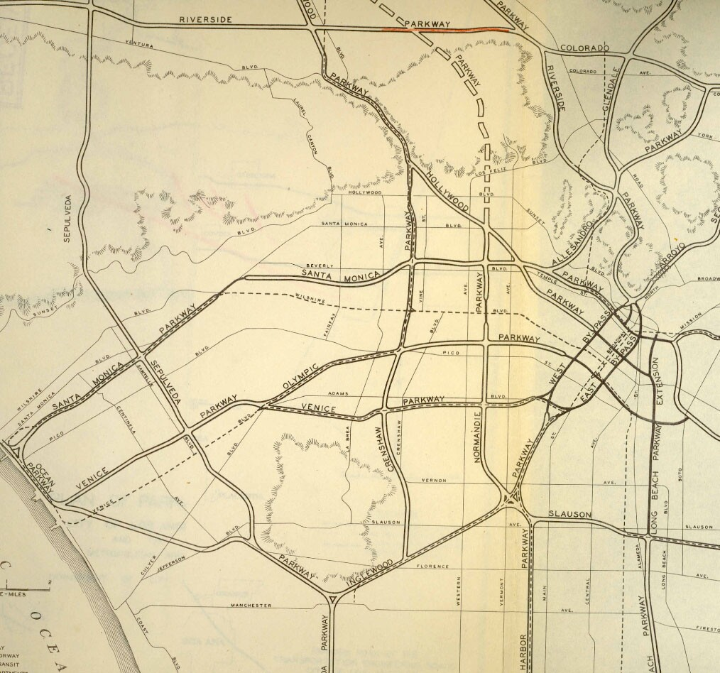 The Beverly Hills Freeway appears in this 1943 map of proposed freeways as the 'Santa Monica Parkway.' Courtesy of the Metro Transportation Library and Archive.