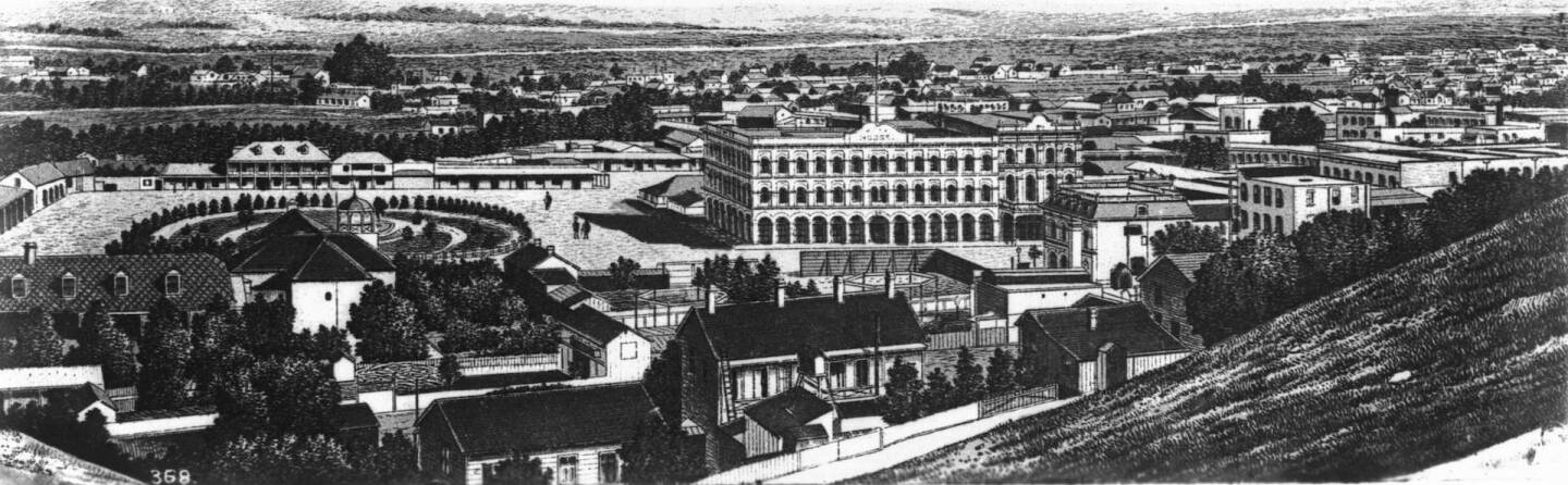 Drawing of Plaza and Mission from Fort Hill, Los Angeles, ca.1876