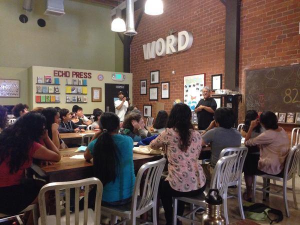 Poet Laureate Luis Rodriguez visits 826LA in Echo Park   Photo: 826LA Facebook