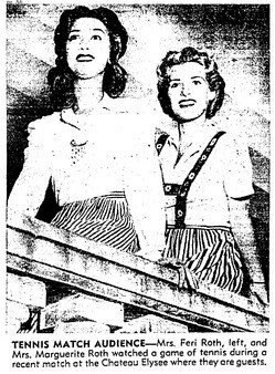 Watching a tennis tournament at the Chateau Elysee | Los Angeles Times, August 14, 1941