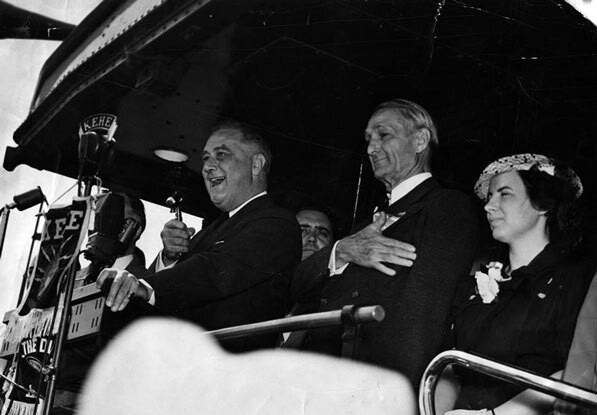 President Franklin D. Roosevelt with McAdoo in Los Angeles in 1938. Courtesy of the Herald-Examiner Collection, Los Angeles Public Library.