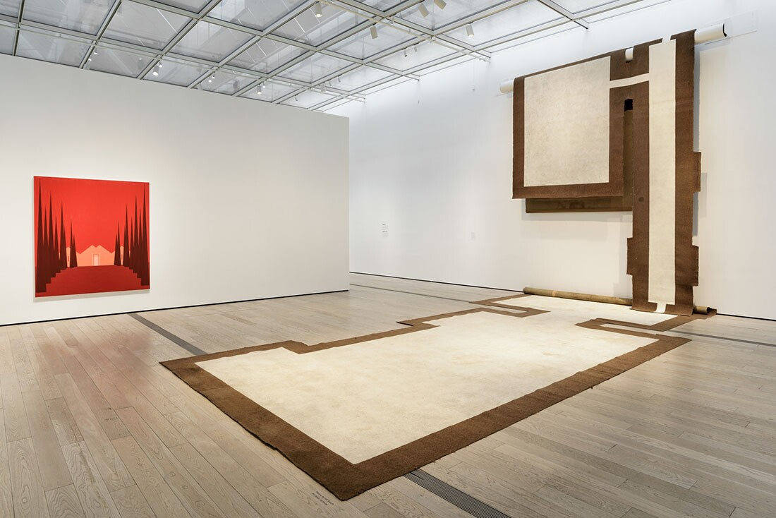 Installation photo featuring Salomon Huerta's Untitled House (0306), 2003 and Carmen Argote's 720 Sq. Ft.: Household Mutations, 2010 in the exhibition Home—So Different, So Appealing at the Los Angeles County Museum of Art, June 11, 2017 - October 15, 201