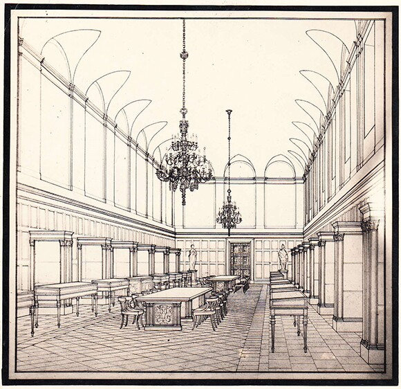 Myron Hunt (1868-1952), Library Main Exhibition Hall, ca. 1918, ink on paper. The Huntington Library, Art Collections, and Botanical Gardens.
