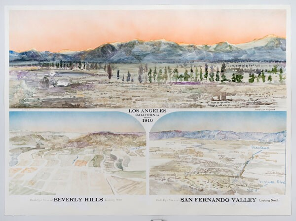 'Three Views of Los Angeles Before Water', 2013 | Watercolor by Rob Reynolds, photo by Robert Wedemeyer