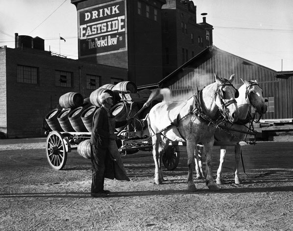A sign on the Los Angeles Brewery proclaims Eastside to be 'the perfect brew.' Courtesy of the California Historical Society Collection, USC Libraries.