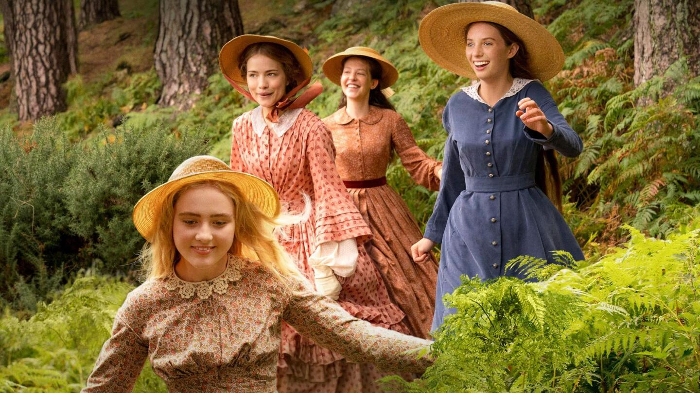 "The March sisters run through a forest. | Promo image for ""Little Women On Masterpiece"""
