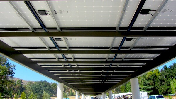 A view of the carport solar energy panels from below. | Photo: Zach Behrens